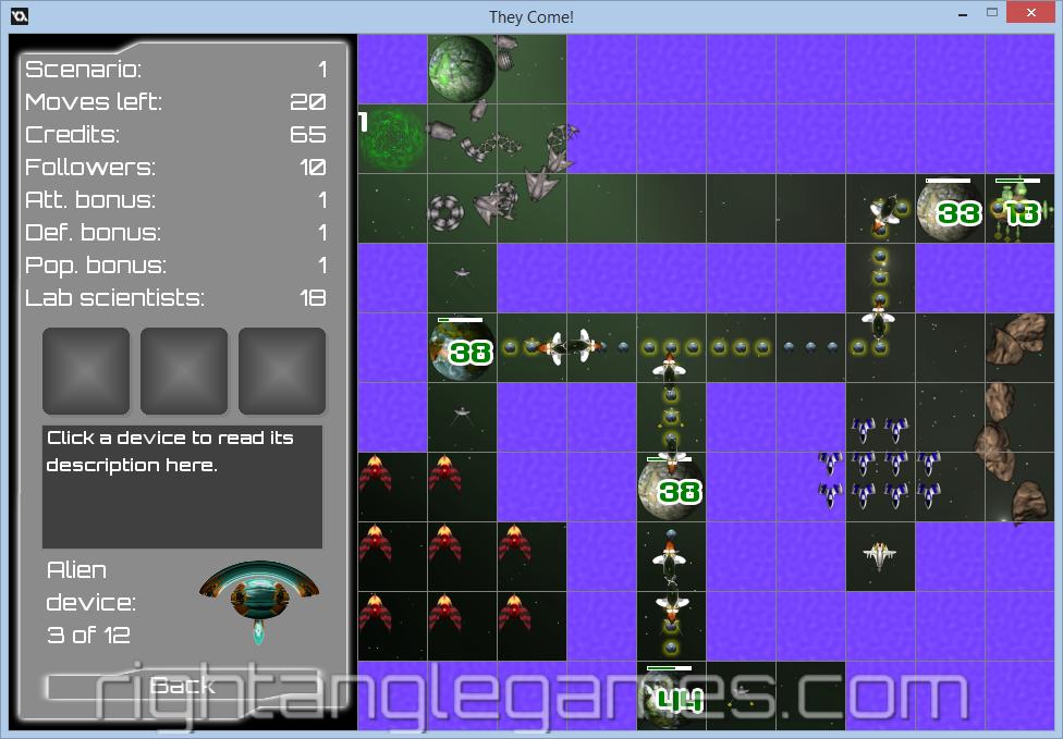 Рис.3 Пример простой карты размером 10х10 тайлов с интерфейсом игрока